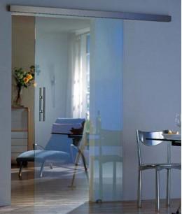 Стеклянная раздвижная дверь на кухню