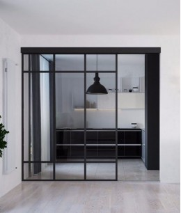 Межкомнатные раздвижные стеклянные перегородки в квартире