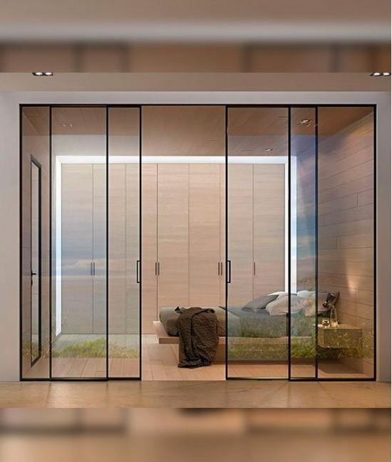 Стеклянные алюминиевые раздвижные двери