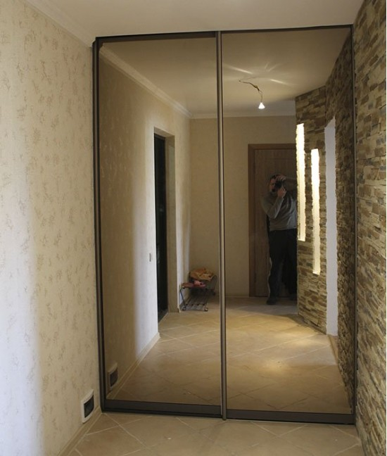 Нижнеопорные зеркальные двери для шкафа-купе