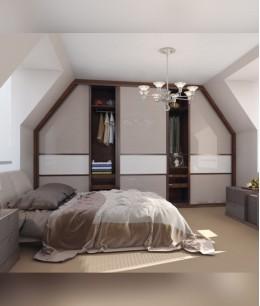 Мансарда спальня с гардеробной