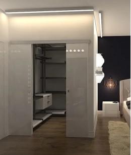 Прямоугольная спальня с гардеробной