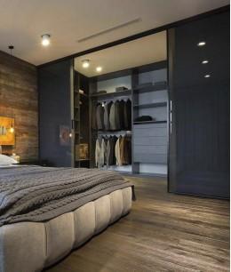 Спальня с гардеробной в стиле лофт