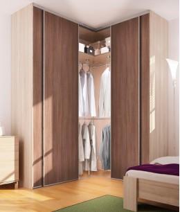 Встроенная угловая гардеробная в спальне