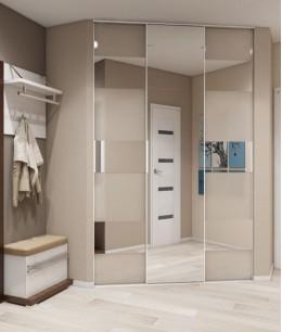 Встроенные угловые гардеробные шкафы купе для прихожих