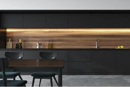 Черная кухня с подсветкой