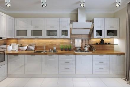 Кухня белая с деревом классика