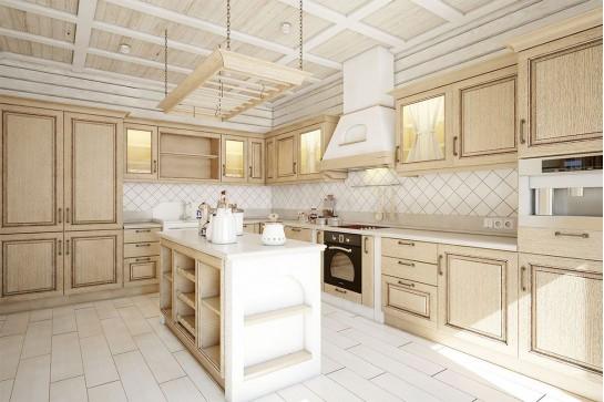 Кухня в стиле неоклассика бежевая
