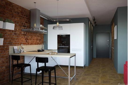 Кухня в студию с барной стойкой