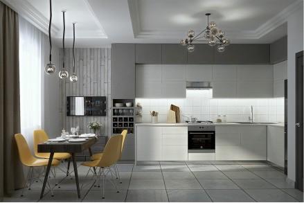 Серая кухня минимализм