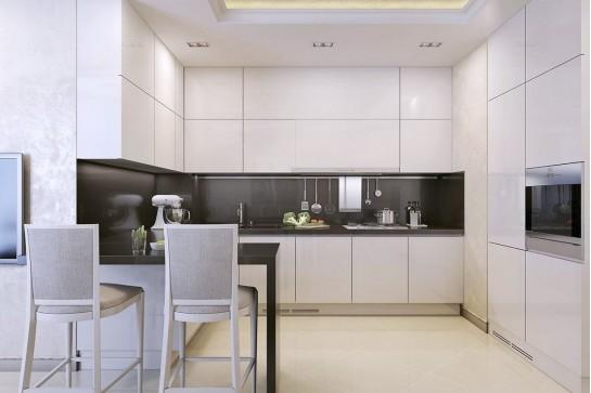 Светлая кухня минимализм