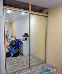 Гардеробные двери-купе в спальню зеркальные