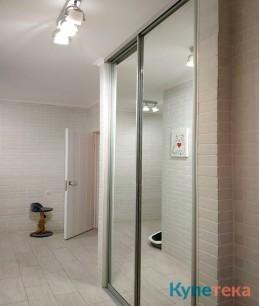 Зеркальные двери-купе в прихожую под потолок