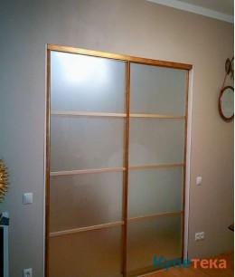 Межкомнатная перегородка в спальню, фасад - матовое стекло