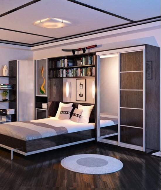 Шкаф купе корпусный с кроватью