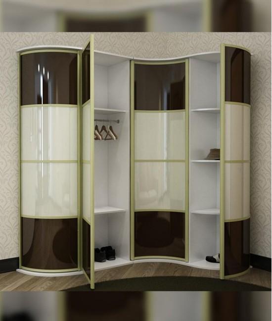 Радиусный шкаф купе угловой с полками для обуви