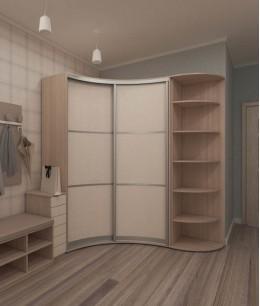 Угловой шкаф купе радиусные в гостиную двухдверный