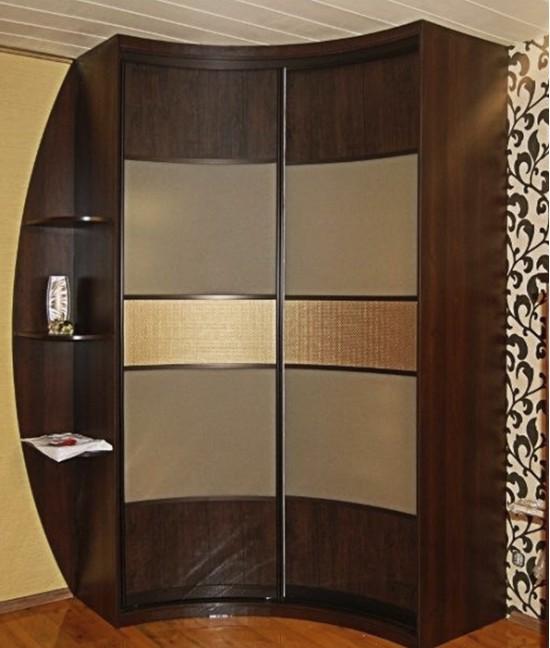 Радиусный шкаф купе угловой радиальный с кожей