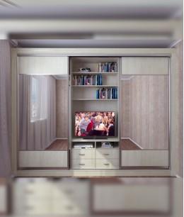 Шкаф купе с телевизором в спальню