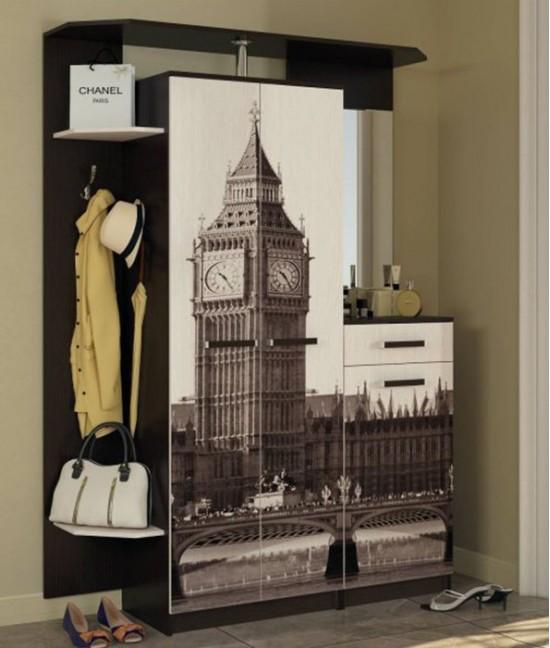 Шкаф купе в спальню с фотопечатью с обувницей