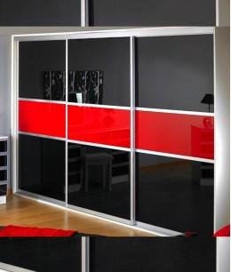 Раздвижной шкаф купе со стеклом лакобель трехстворчатый