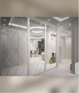 Встроенный шкаф купе до потолка зеркало с гравировкой