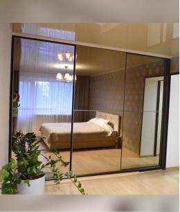 Встроенный шкаф купе до потолка зеркало (бронза)