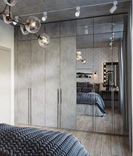 Встроенный шкаф купе до потолка лофт
