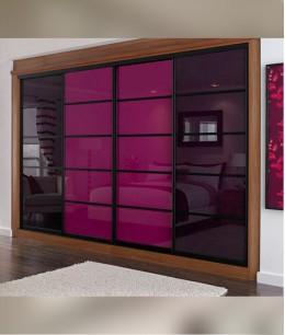 Встроенный шкаф купе до потолка цветной