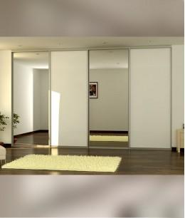 Встроенный шкаф купе зеркальные (серебро)