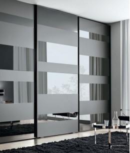 Встроенный шкаф купе зеркальные (графит)