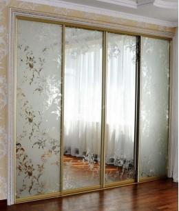 Встроенный шкаф купе зеркальные пескоструйный рисунок