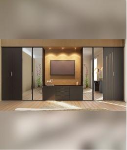 Встроенный шкаф купе зеркальные с телевизором
