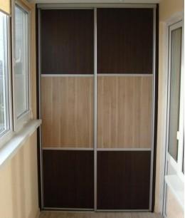 Встроенный шкаф купе на балкон венге