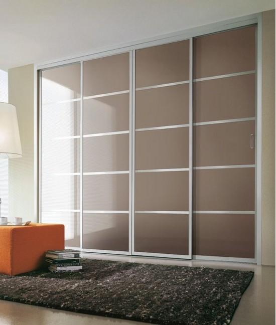Встроенный шкаф купе в спальню oracal (цветное стекло)