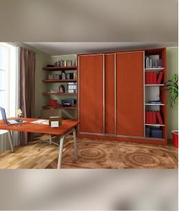 Встроенный шкаф купе в спальню с полками для книг