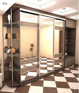Встроенный шкаф купе в спальню трехдверный зеркальный